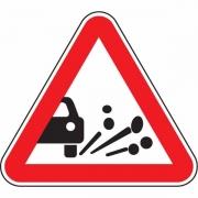 """дорожный знак 1.18 """"Выброс гравия"""""""