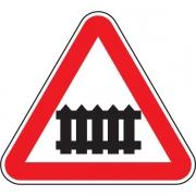 """дорожный знак 1.1 """"Железнодорожный переезд со шлагбаумом"""""""
